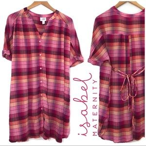 Ingrid & Isabel Maternity Plaid Tie Waist Tunic